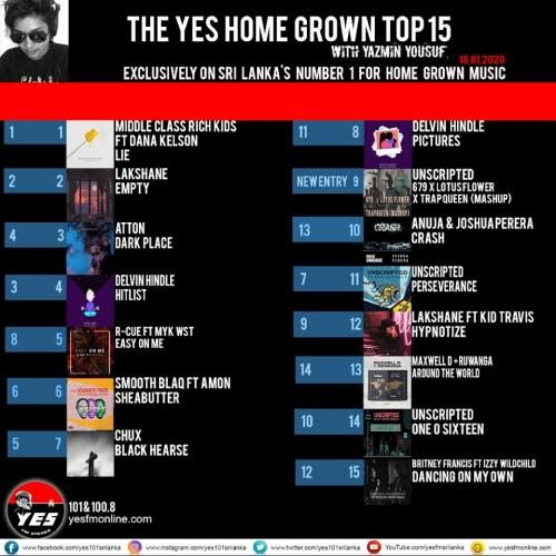 'Lie' Is Still The Biggest Single On The YES Home Grown Top 15!
