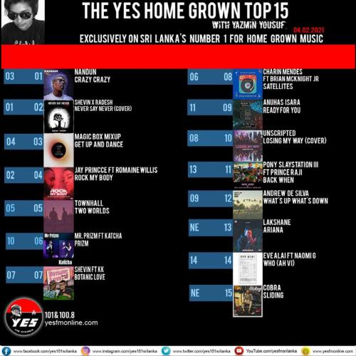 News : Nandun Hits Number 1 On The YES Home Grown Top 15!